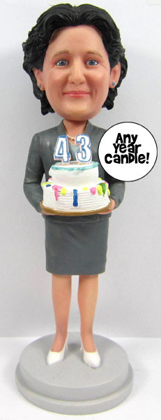 Woman's Birthday Cake Topper Sculpted to Look Like Her!