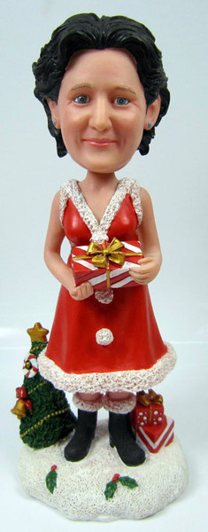 Christmas Bobble Head Lady with Gift