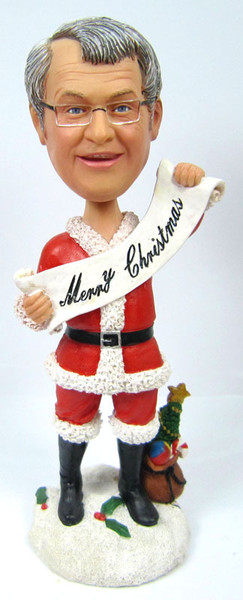 "Male Christmas Bobble Head with ""Merry Christmas!"" Banner"