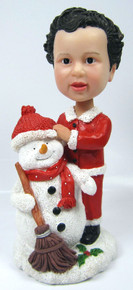 Child Bobble Head Figure with Snowman