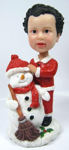 Child Bobble Head Figure with Snowman