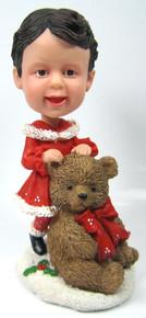 Little Girl  Bobble Head Figure with Large Teddy Bear