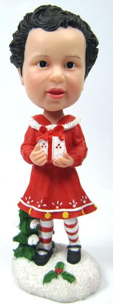 Little Girl Bobble Head Figure with Gift