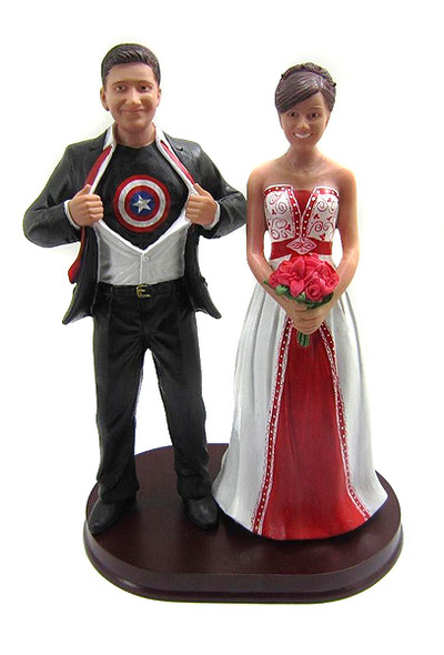 Captain America wedding cake topper sculpted to look like the bride and groom from your submitted photos.  You choose the clothing and flower colors!