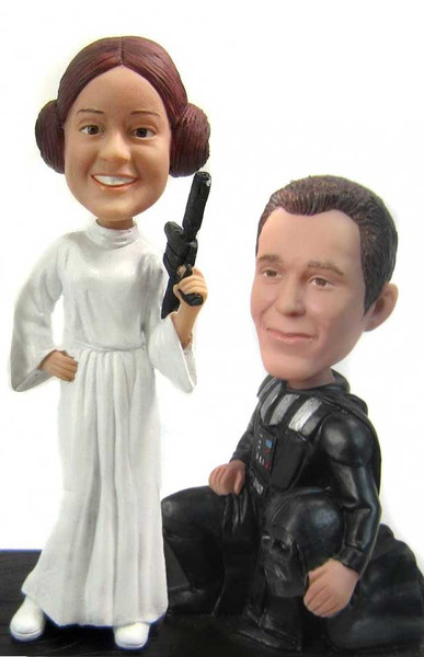 Darth Vader and Princess Leia Custom Wedding Cake Topper