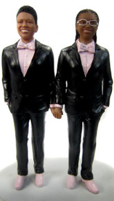 Classic Lesbian Couple in Tuxedos Cake Toppers Style 2