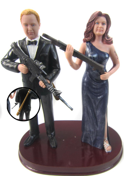 Zombie Hunting Couple Custom Wedding Cake Topper