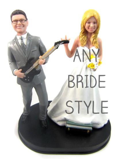 Guitar Playing Groom Wedding Cake Topper