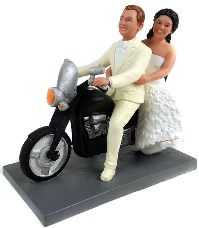 Biker Bride and Groom Wedding Cake Topper