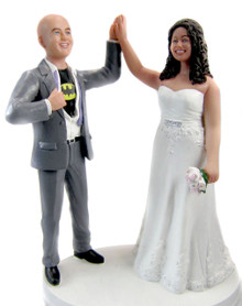 Superhero Groom High Five Cake Topper