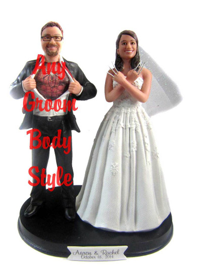 Wolverine Bride with Interchangeable Groom Cake Topper
