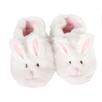 Robeez Fuzzy Bunny Soft Soles,White, Girls, Baby, Infant, Pre-Walker, Toddler, Shoes,  0-24 Months