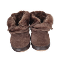 Robeez Cozy Ankle Bootie Soft Soles, Brown, Boys, Baby, Infant, Pre-Walker, Toddler, Boots, 0-24 Months