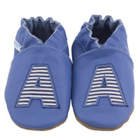 Monogram Baby Shoes, Blue, 6 - 12 Months Only