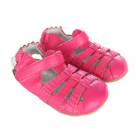 Girls Sandals for babies, infants and toddlers.  Pink leather soft soled shoes for pre-walkers and early walkers.