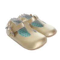 Girls' baby shoes in gold leather.  Soft Soles with rubber outer sole for beginner walkers.