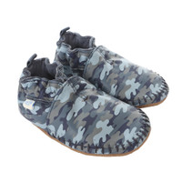 Baby Moccasins soft soled baby shoes in navy and blue camouflage.