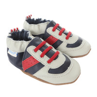 Athletic shoes for baby, infant and toddler boys and girls. Navy leather soft soled baby shoes.
