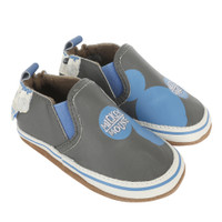 Disney's Mickey Mouse baby shoes in grey canvas.