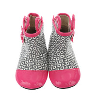 Pink, black, white PU boots for baby girls
