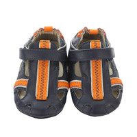 Navy leather sandals for babies