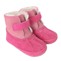 Girls' Boots for babies, infants  and toddlers.  Pink suede. Faux fur lined.
