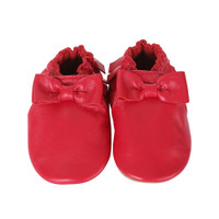 Premium Leather Maggie Moccasins, Cranberry, Soft Soles