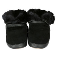 Boys baby boots in black suede and leather.  Soft Soled. Fur lined. Good for pre-walkers and beginner walkers.