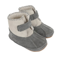 Baby boots for boys and girls in grey suede.  Soft Soled. Faux Fur lined. Pre-walkers and early walkers.