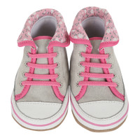 Grey Canvas Pink Floral Baby Shoes