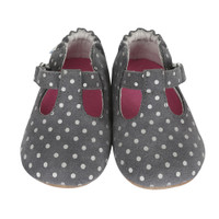 Grey leather silver dots baby shoes