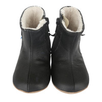 Black leather faux fur baby boots