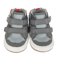 Grey leather baby shoes high tops