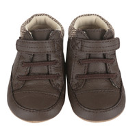 Brown leather twill ankle baby shoes