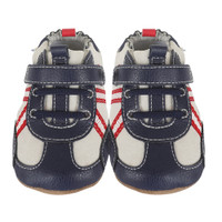 Navy leather stay-on athletic baby shoes