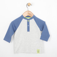 Light grey blue baseball shirt for babies and infants