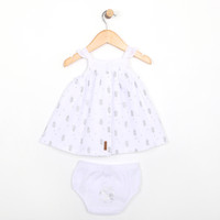 White dress with diaper cover for babies and infants, part of our new baby clothing line.