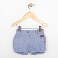 Blue cotton woven shorts