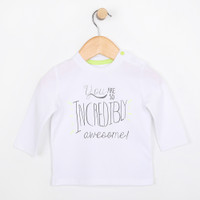 "White long sleeve cotton t-shirt with the words ""You are so Incredibly Awesome"".  Part of baby clothing line."