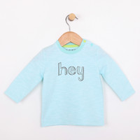 Turquoise long sleeve cotton t-shirt for infants and babies. Part of our new apparel line for babies and infants.