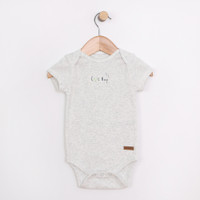 Cotton bodysuit or one piece or onesie for infants and babies.  Has snaps at leg for easy access.