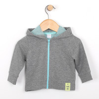 Grey french terry cotton jacket for babies and infants. Part of our new baby clothing line.