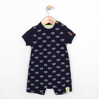 Navy romper onesie with bicycles.  Baby clothing and infant apparel.