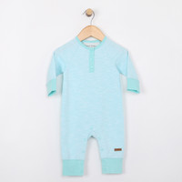 Turquoise coverall onesie with snaps at the leg for baby and infants