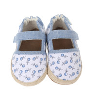 Canvas baby shoes with soft soles designed to look like mom's espadrilles.  Poppy designs. Ages 0 - 24 months