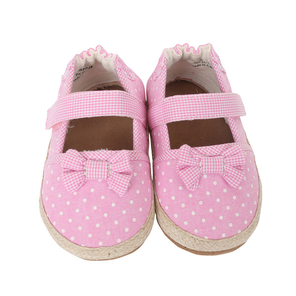 Pink canvas infant shoes with polka dots and bows.  These soft soled baby shoes are perfect for ages 0 - 2 years