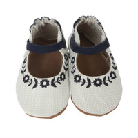Soft soled baby shoes in white leather with black floral embroidery.  Infants, Babies, Toddlers size 0 - 24 months