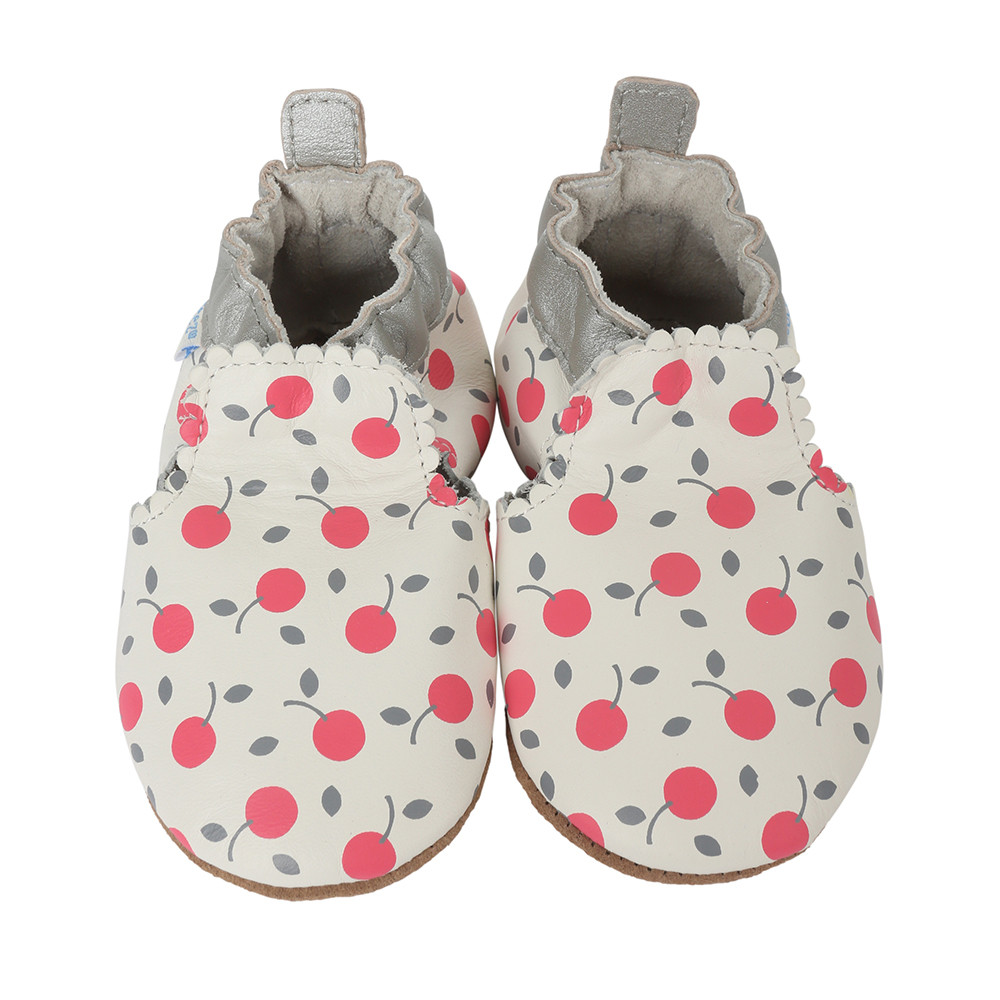 White leather baby shoes soft soles with cherry designs for ages 0 - 24 months - baby, infant and toddlers