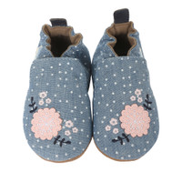 Chambray soft soled infant shoes with pink flowers for ages 0 - 24 months