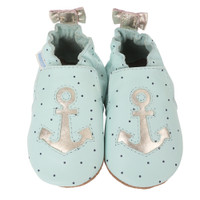 Blue leather baby shoes for girls 0 - 2 years old.  These soft soled infant shoes feature silver anchors.